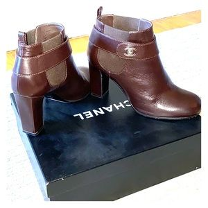 Chanel Chocolate Brown Leather Booties